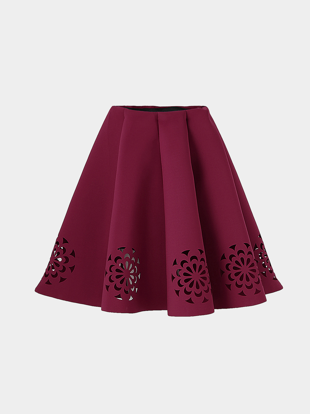 Burgundy Midi Full Skirt With Cut Flowers Hem накладная раковина cersanit easy es60 белый