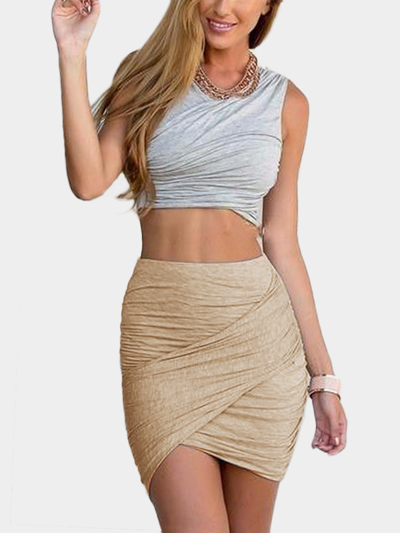 Khaki Crossed Front Design Pleated Sexy Skirt