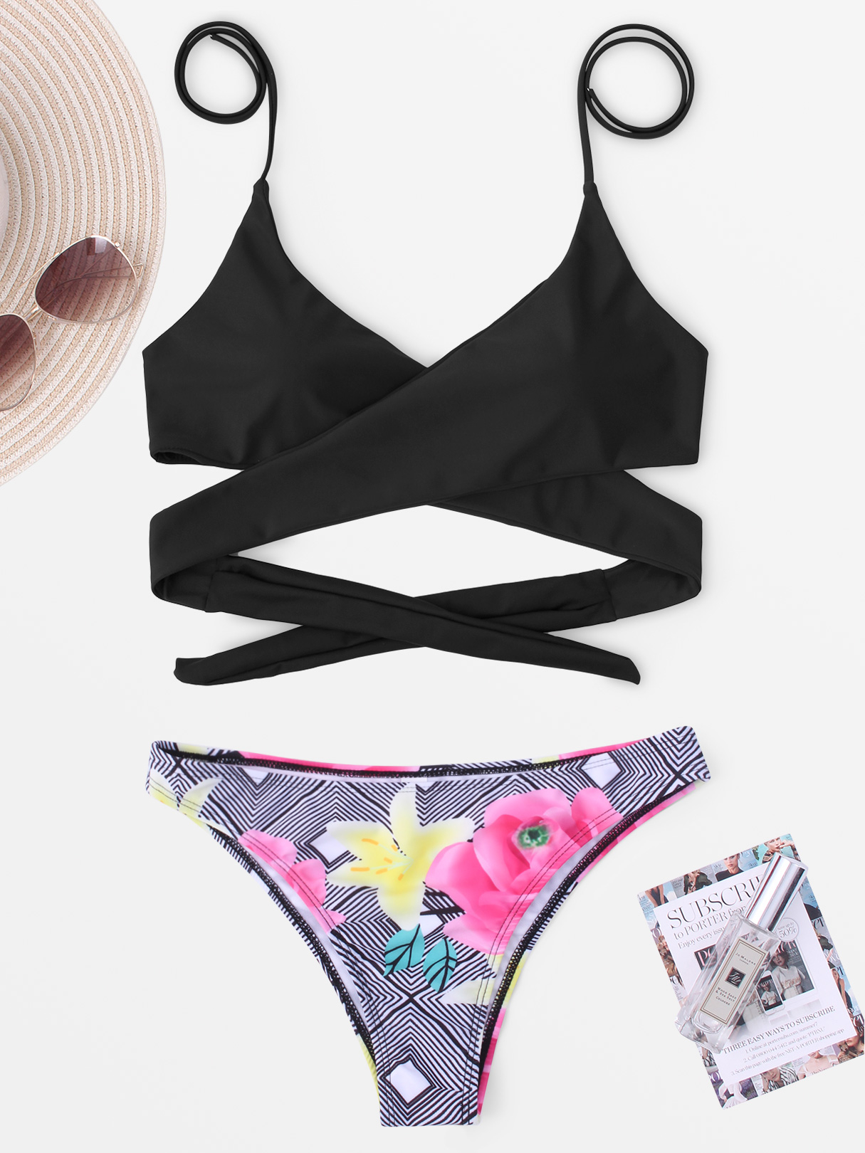 Black Geometric and Random Floral Print Cross Front Bikini Set