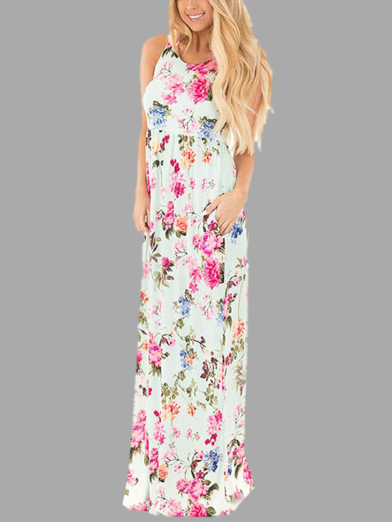 Light Green Random Floral Printed Maxi Dress