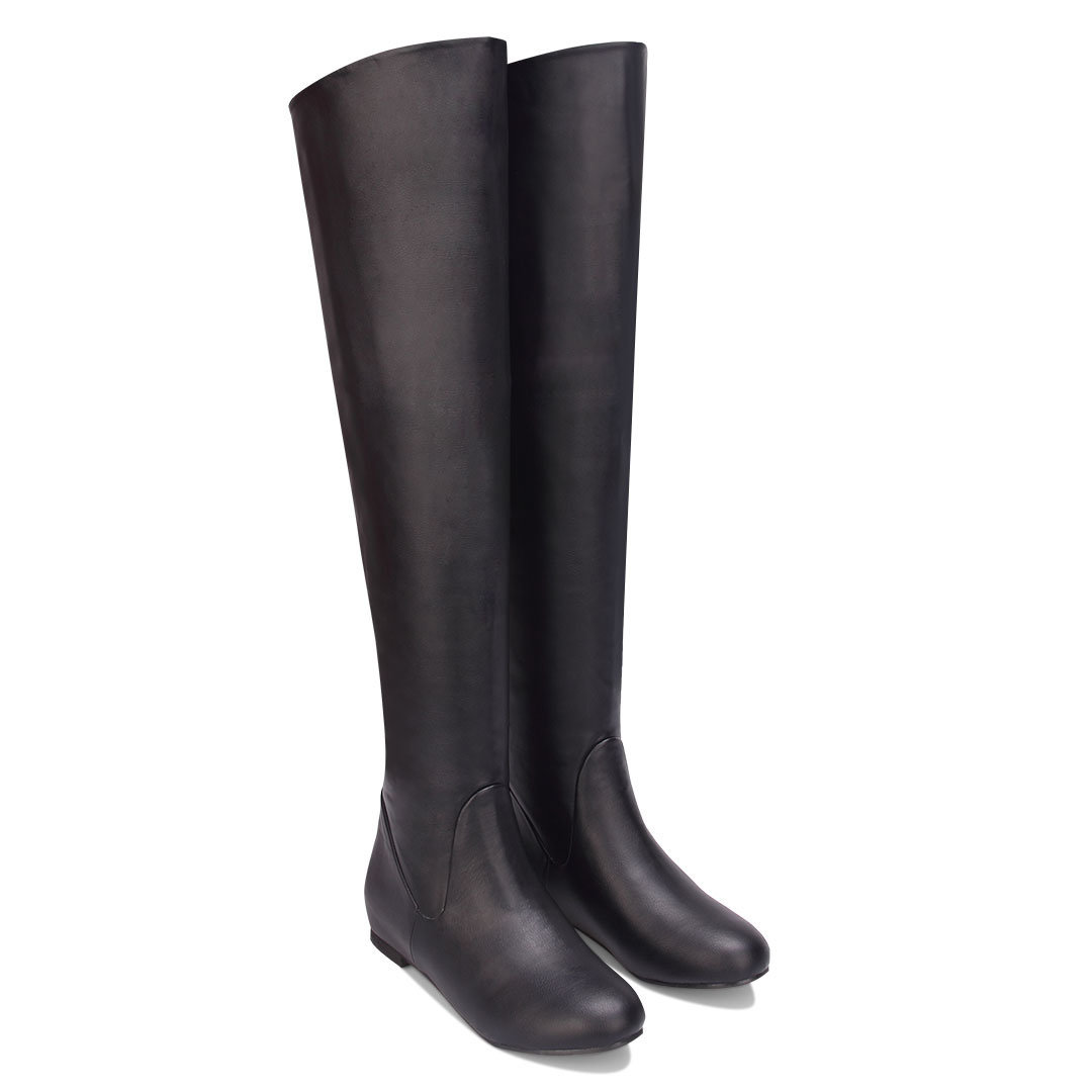 Artificial Leather Over The Knee Flat Boots