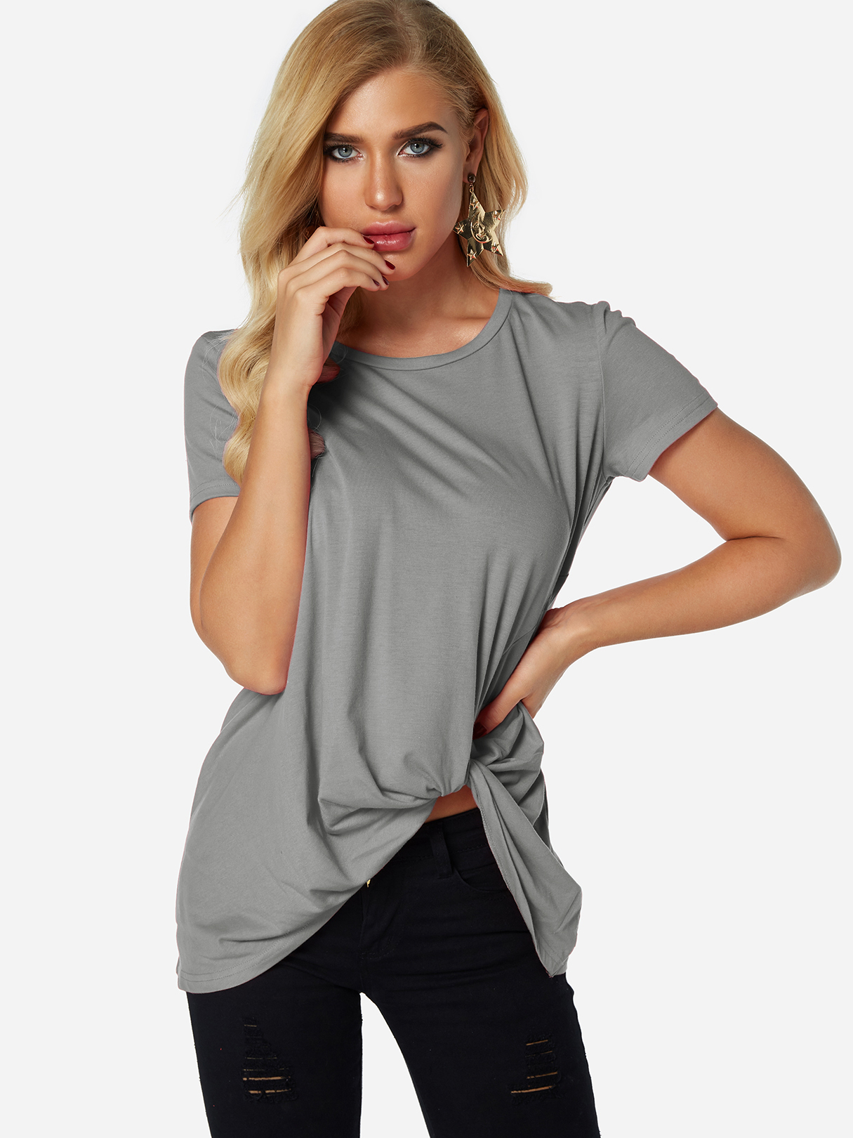 Grey Pleated Design Round Neck Short Sleeves T-shirts grey lace up design round neck short sleeves t shirt with irregular hem
