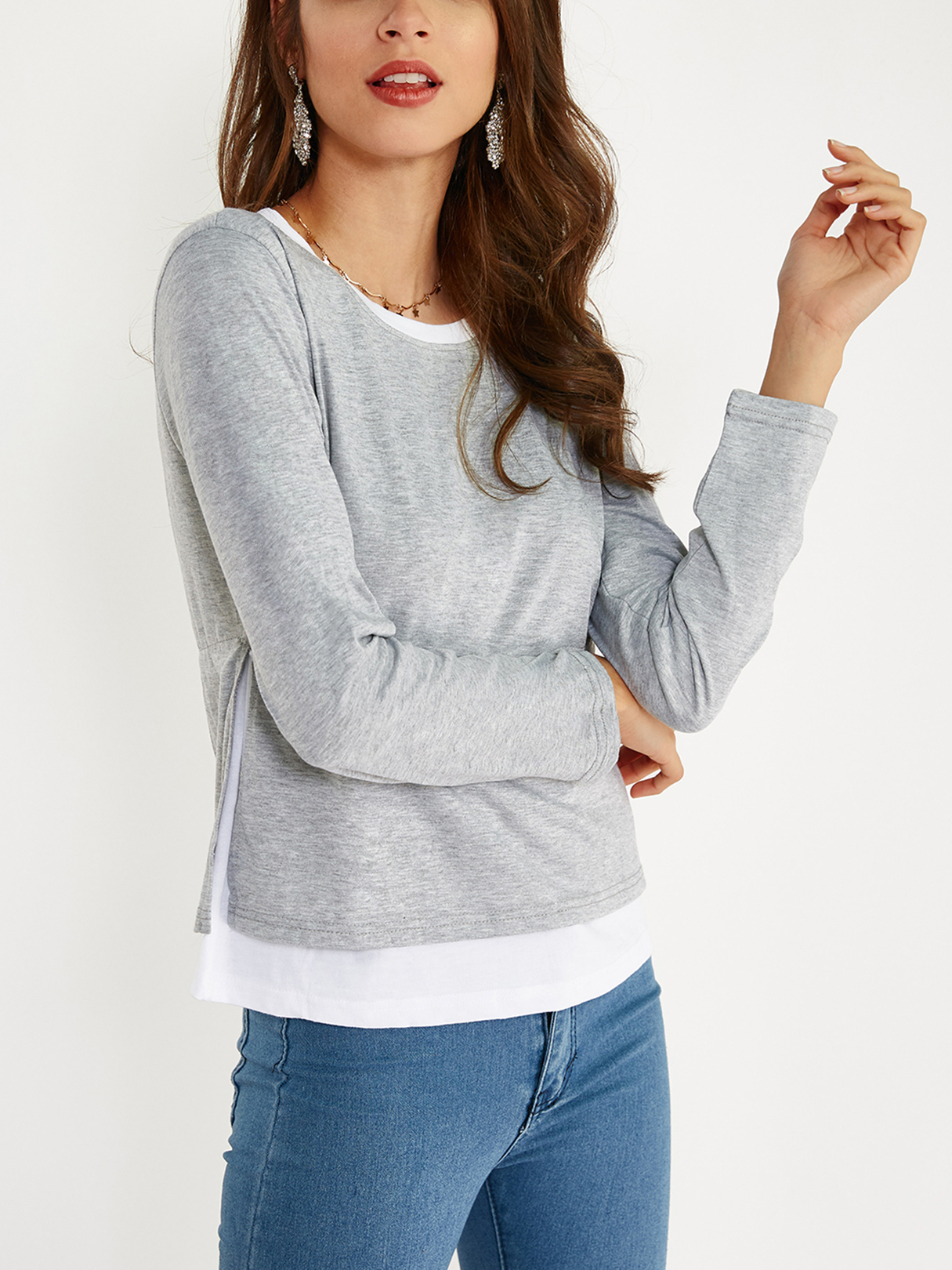 Grey Cozy Round Neck Long Sleeves Slit Side Two in One Top side slit marled long hoodie