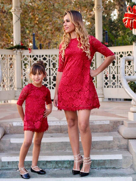 Mommy and Me Delicate Lace Matching Mini Dress in Red autumn new product girl cowboy pearl suit children s garment single row buckle short skirt suit 2 pieces kids clothing sets