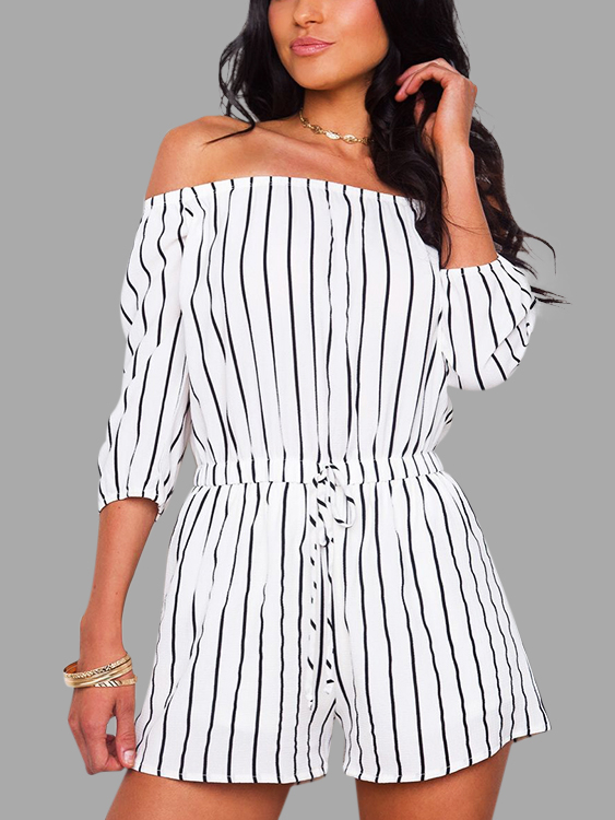 White Stripe Pattern Off Shoulder 3/4 Length Sleeves Playsuit stripe pattern off shoulder long sleeves waist tie playsuit with tassel detail page 7