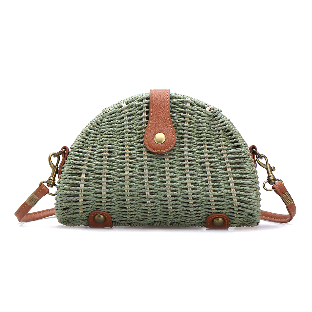 Green Straw-woven Shoulder Bag With Flap Top