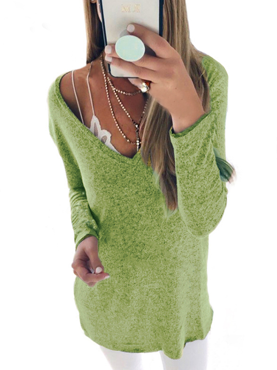 Green Plunge V-neck Long Sleeves T-shirt