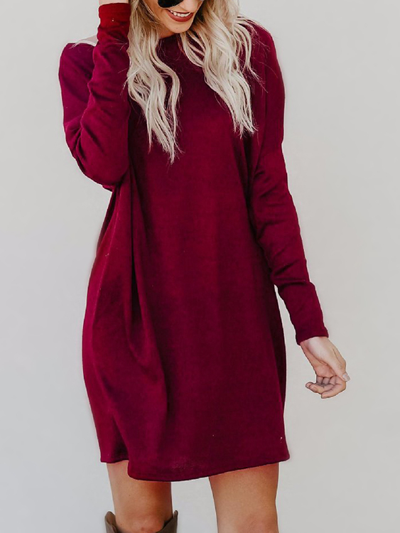 Burgundy Side Pockets Round Neck Long Sleeves Mini Dress