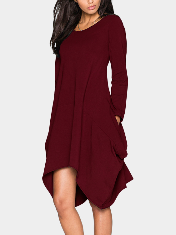 Burgundy Two Pockets Round Neck Irregular Dress