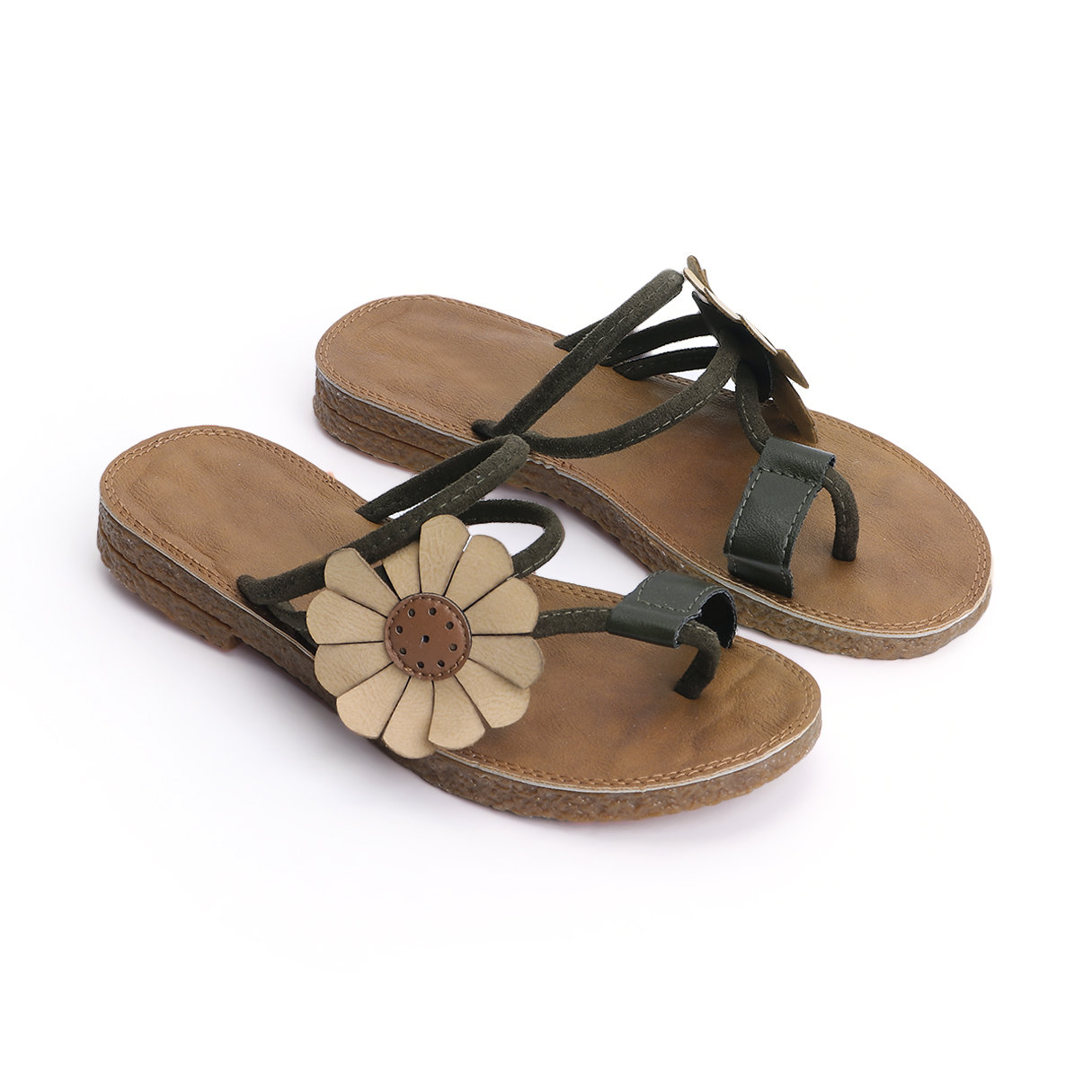 Green Boho Style Flower Decoration Slippers floral decoration vocation sandals in pink