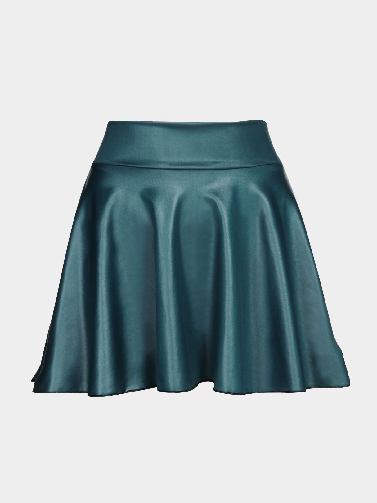 Blue Leather Look Skater Skirt With Elastic Band pleated high waist a line skater skirt