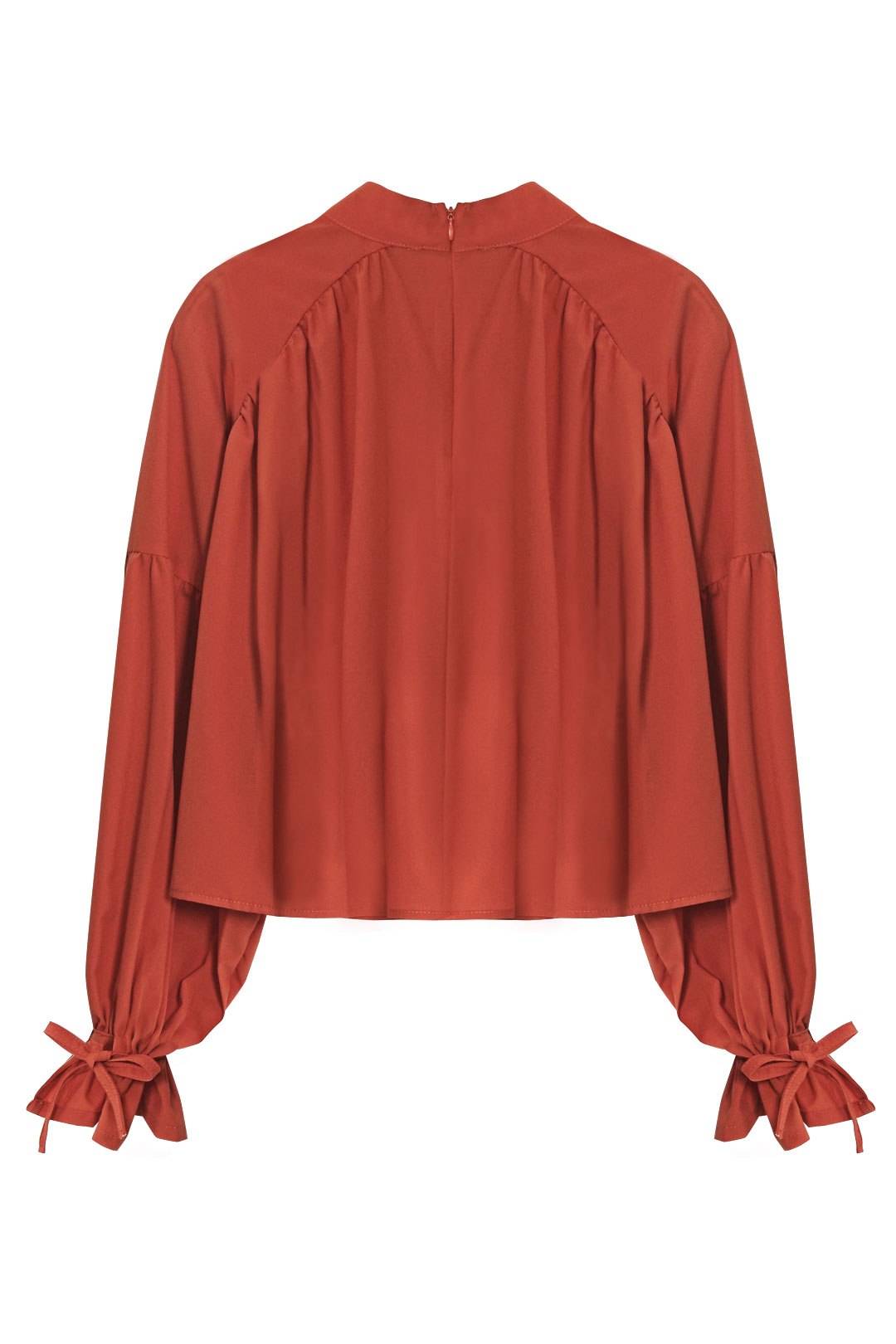 High-Neck Ruffled Blouse in Coral