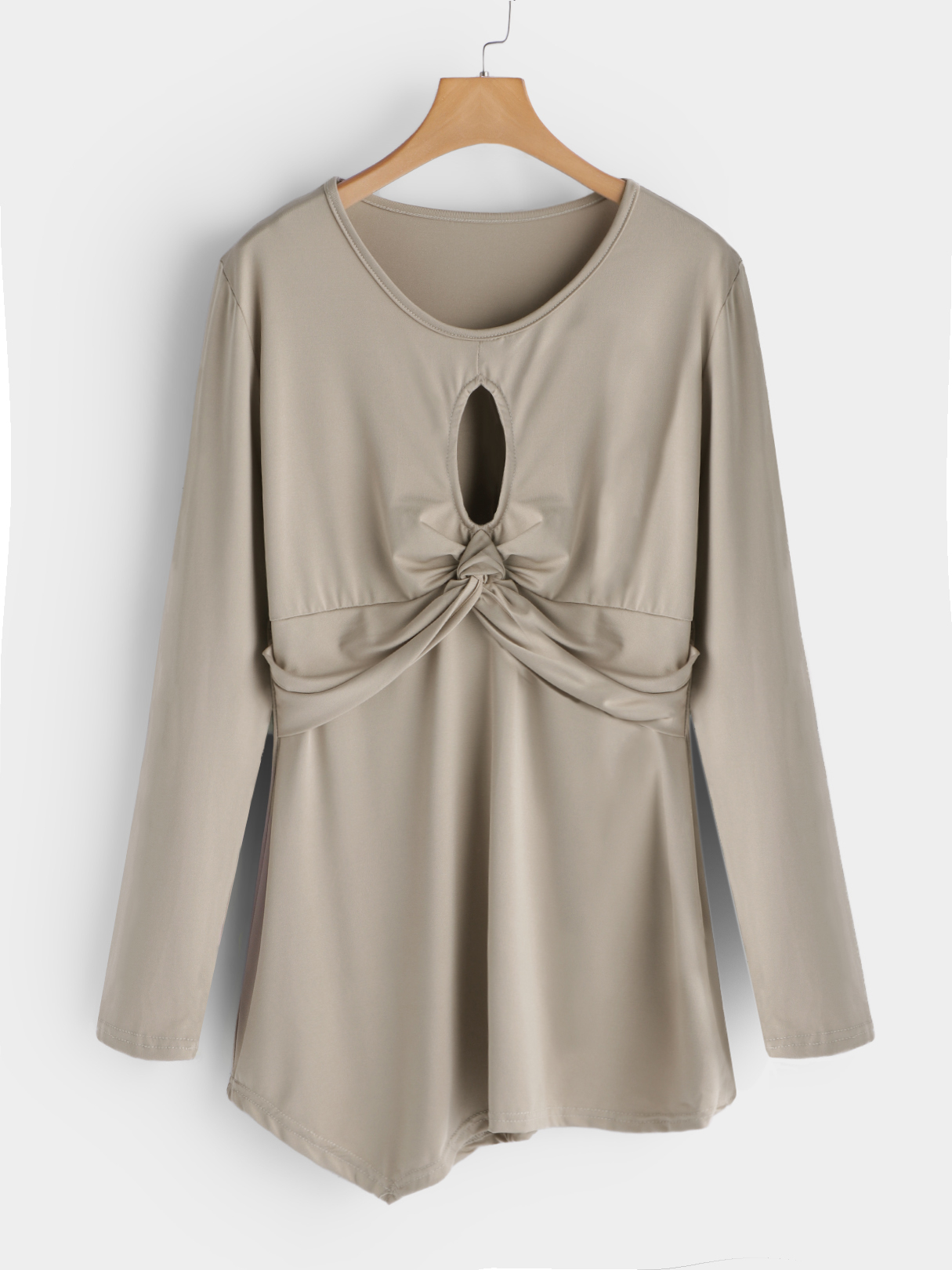 Khaki Cut Out Round Neck Long Sleeves T-shirts цены