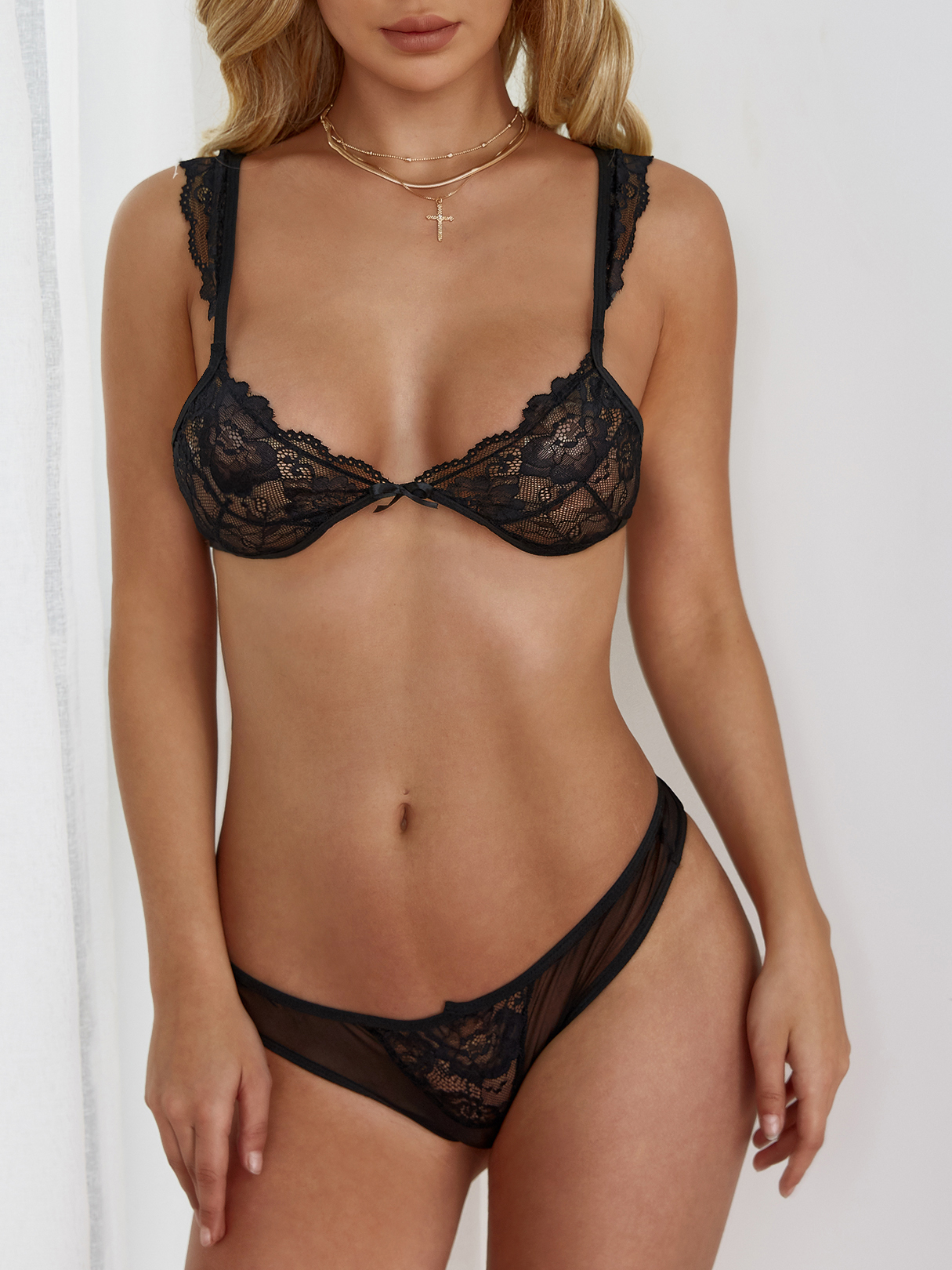 Sexy Black Lace Detail Lingerie Sets sexy black lace lingerie set with no falsies