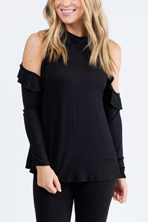 все цены на Black Cold Shoulder Frills Design Top