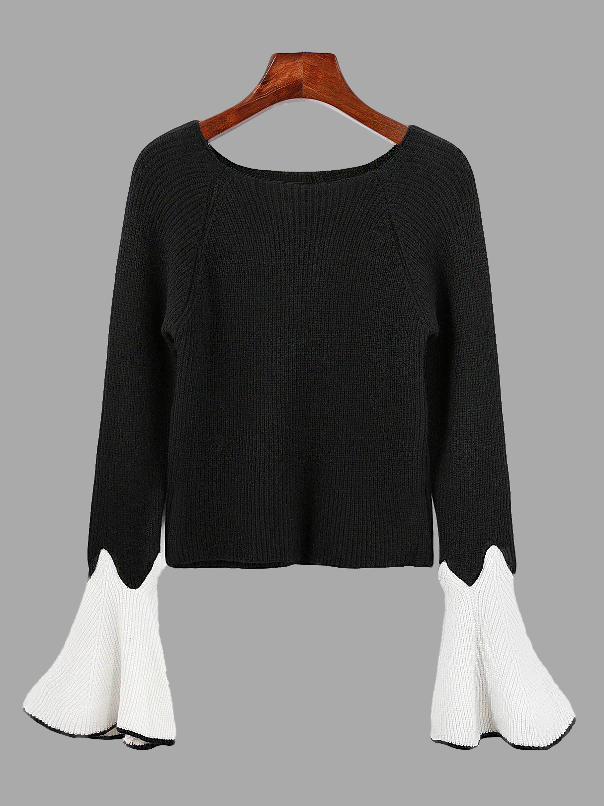 Cute Black Round Neck Long Flares Sleeves Sweater 110 220v for apple samsung lcd screen split assembly separator machine youyue 946d