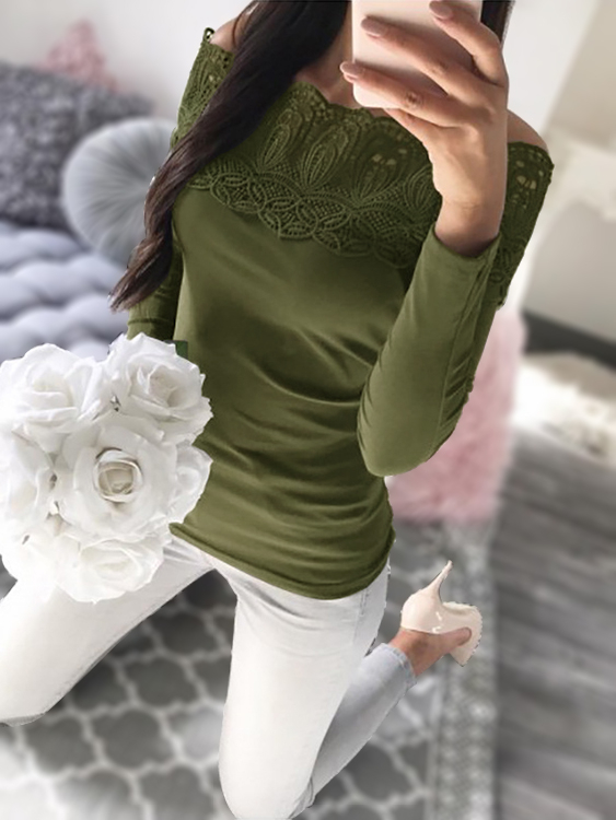Army Green Off-The-Shoulder Lace-applique Top