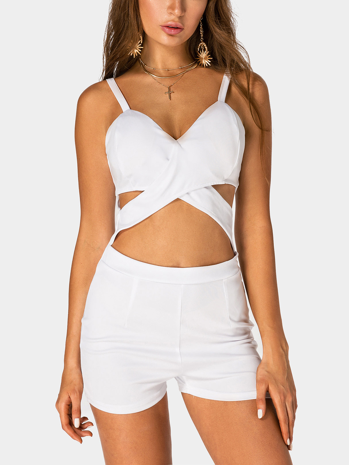 White Sexy Cut Out Bodycon Cami Playsuit