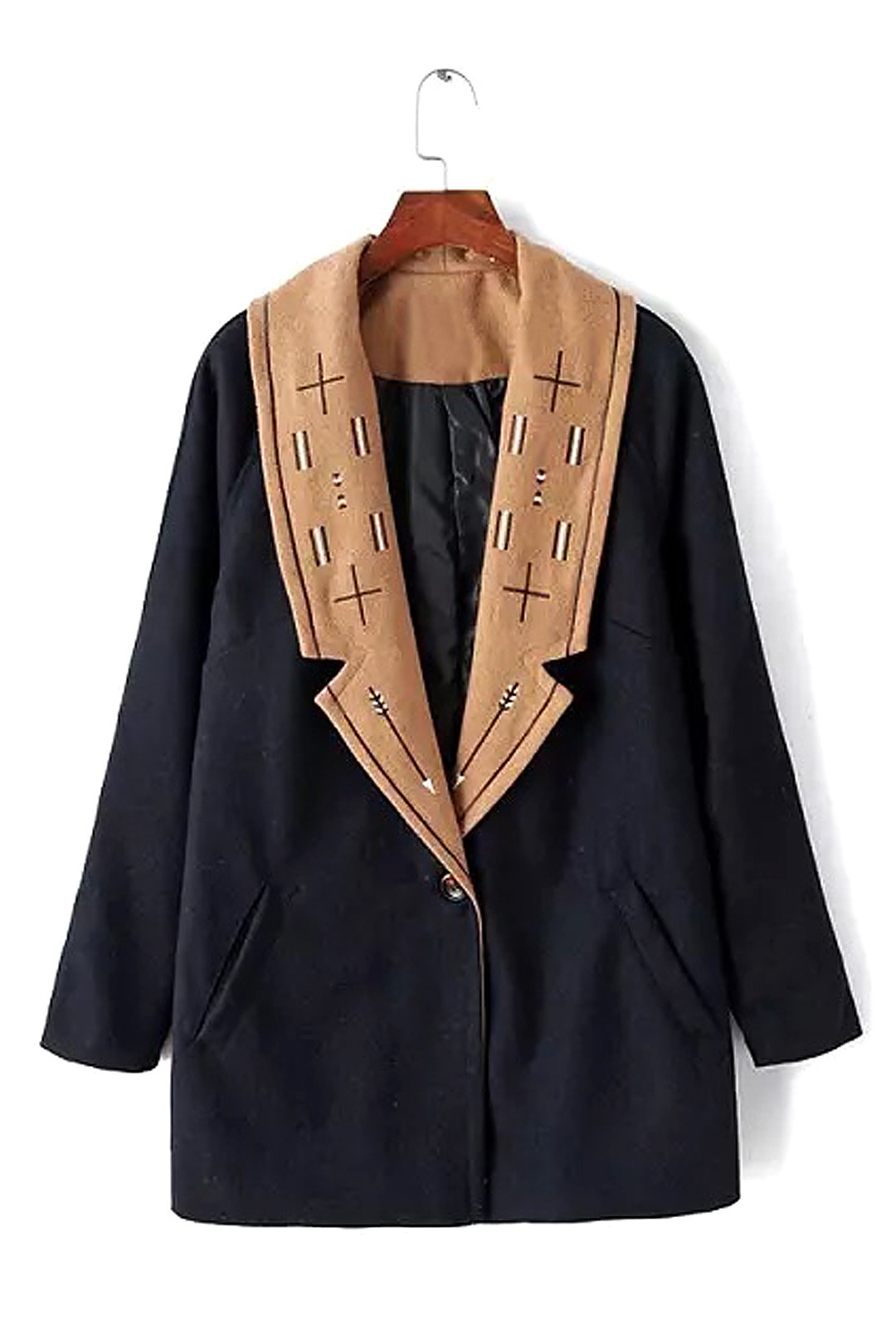 Navy Duster Coat with Embroidery grey lapel collar duster coat with side pockets