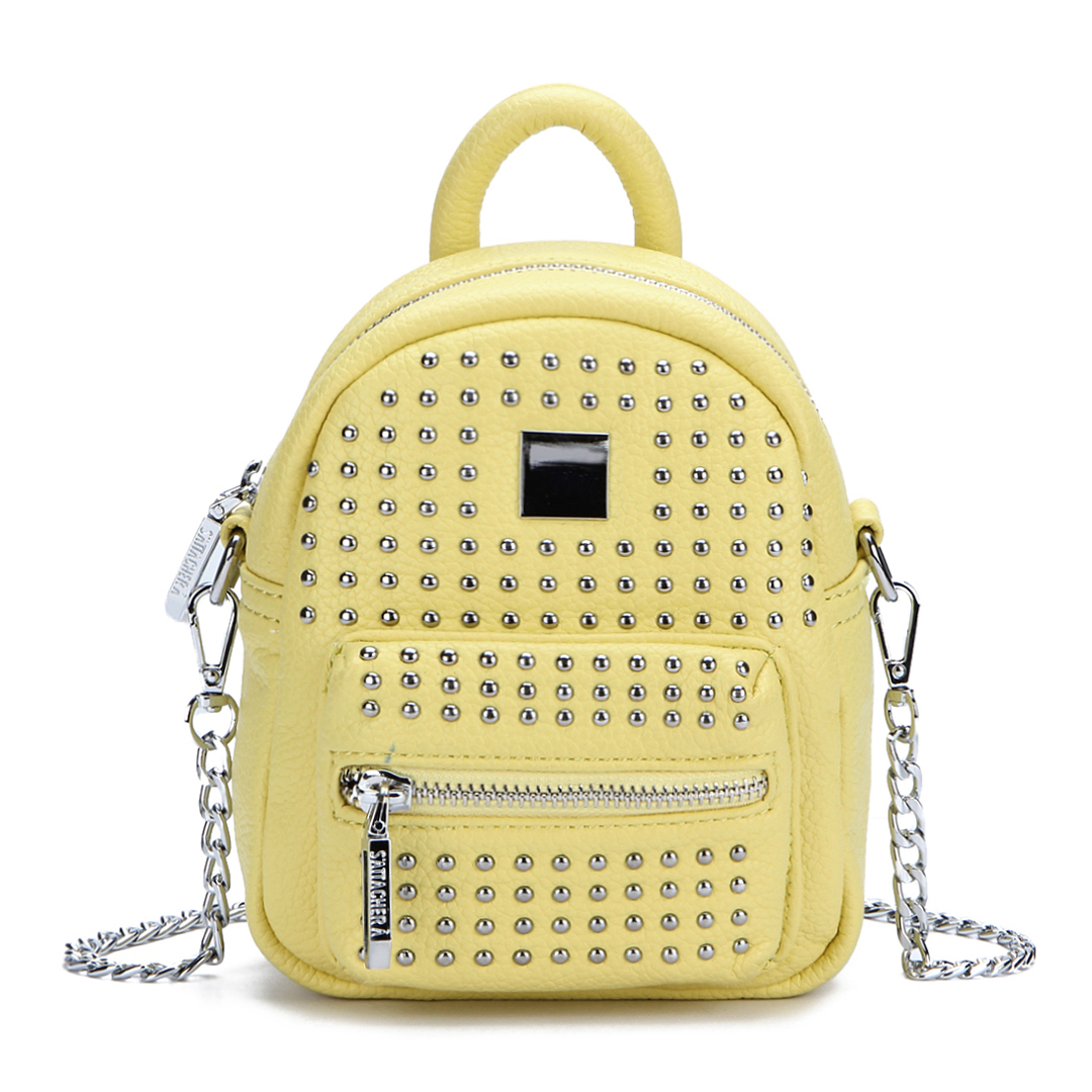 Rivet Deisgn Leather-look Mini Backpack in Yellow