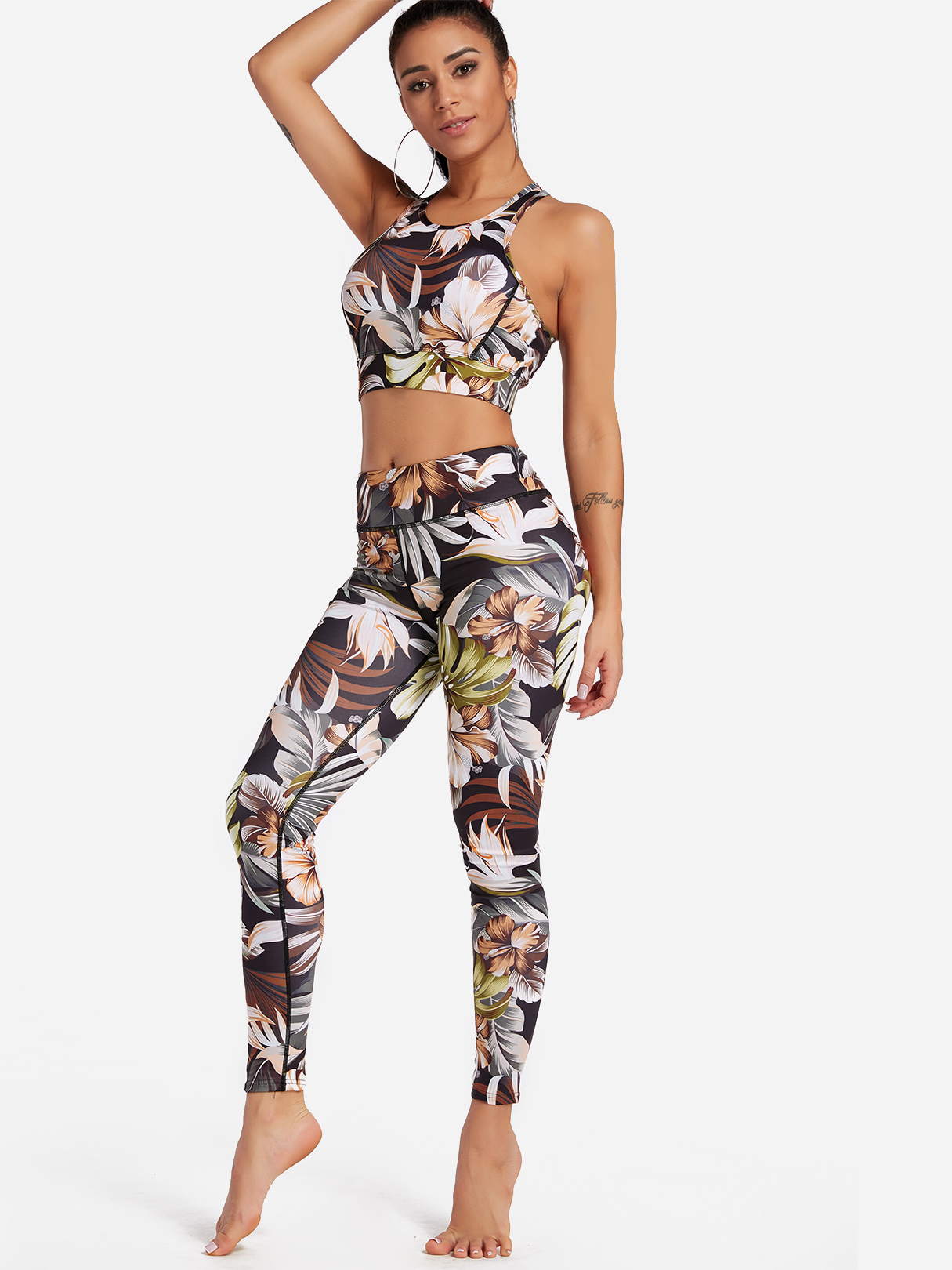 Brown Floral Print Crew Neck Sleeveless High-waisted Tracksuit balck and blue sleeveless yoga tracksuit