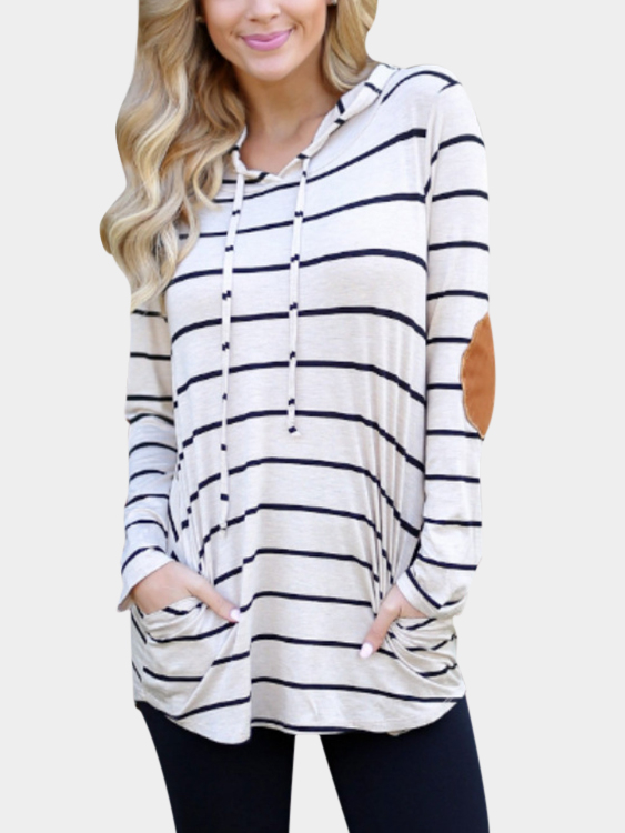White Hooded Design Stripe Pullover Long Sleeves Tee