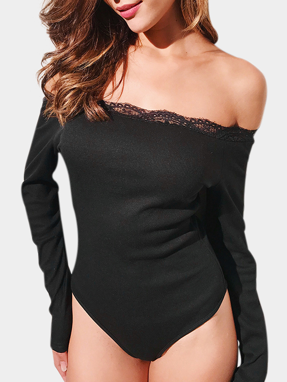 Black Lace Details Off The Shoulder Long Sleeves Bodysuits ladybug girl and the best ever