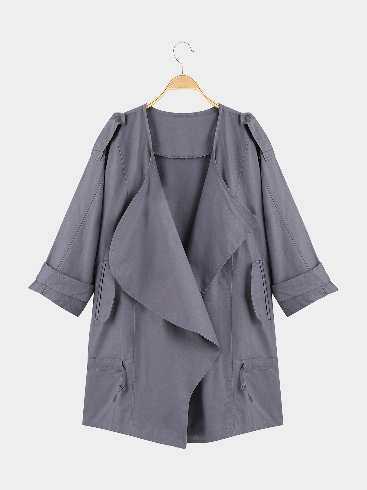 Classics Collection Solid Grey 3/4 Sleeve Waist Tie Trench Coat