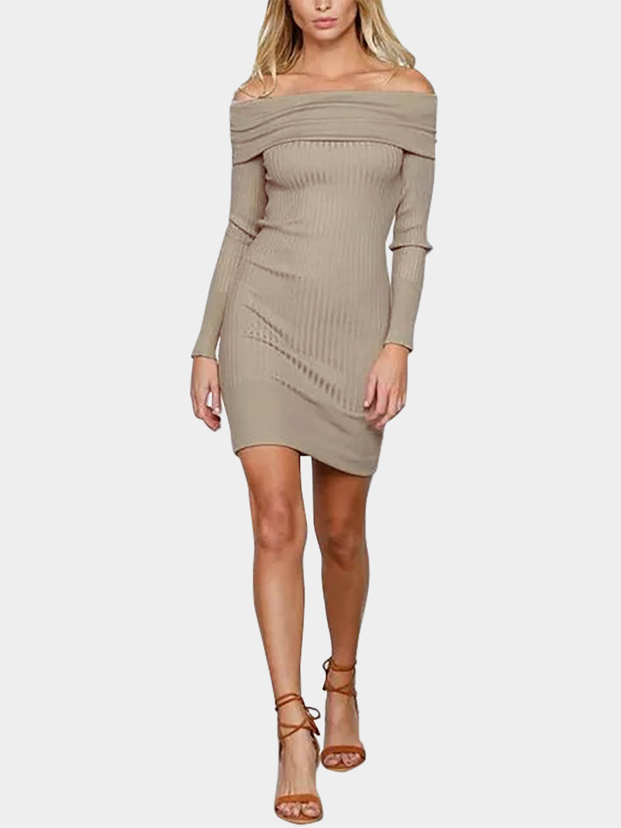 Khaki Sexy Off-shoulder Over-layer Ribbed Midi Dress