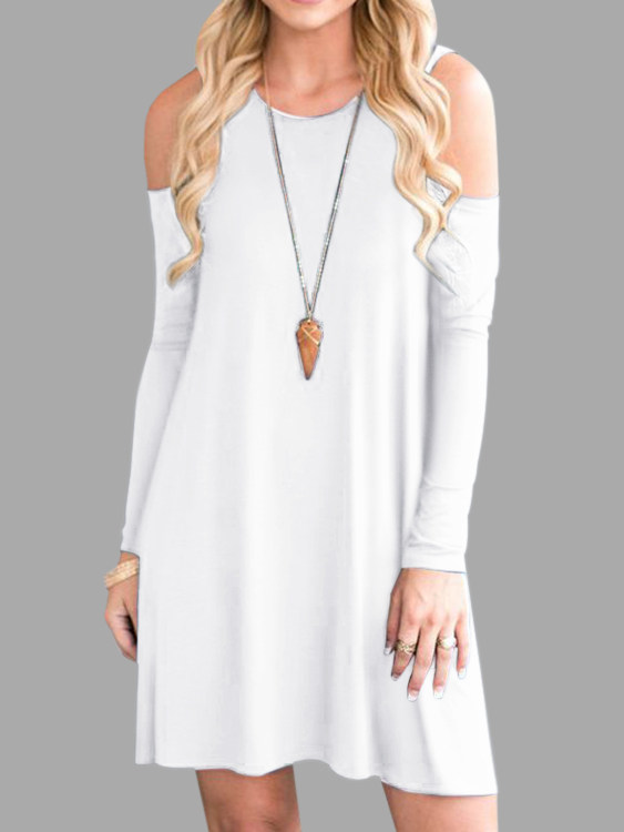 White Side Pockets Cold Shoulder Long Sleeves Dresses grey side pockets cold shoulder long sleeves dresses