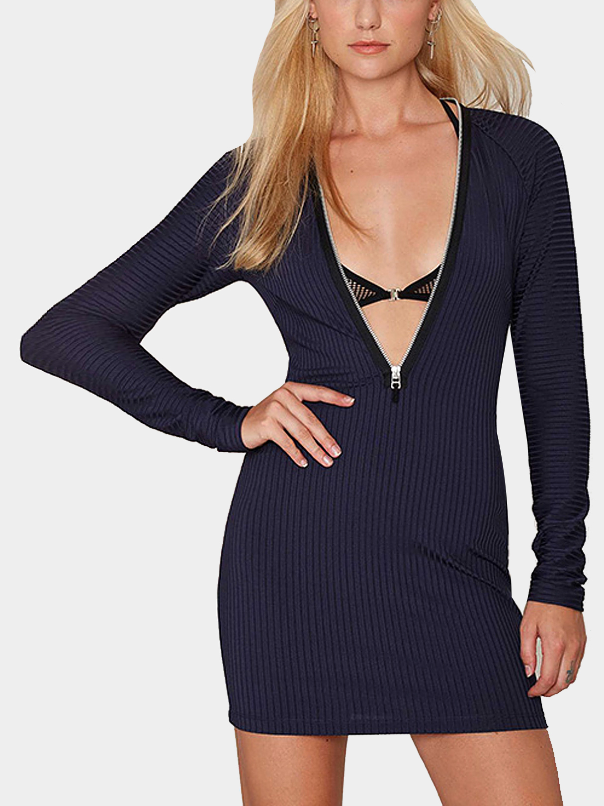 Zipper Ribbed Knit Mini Dress In Navy