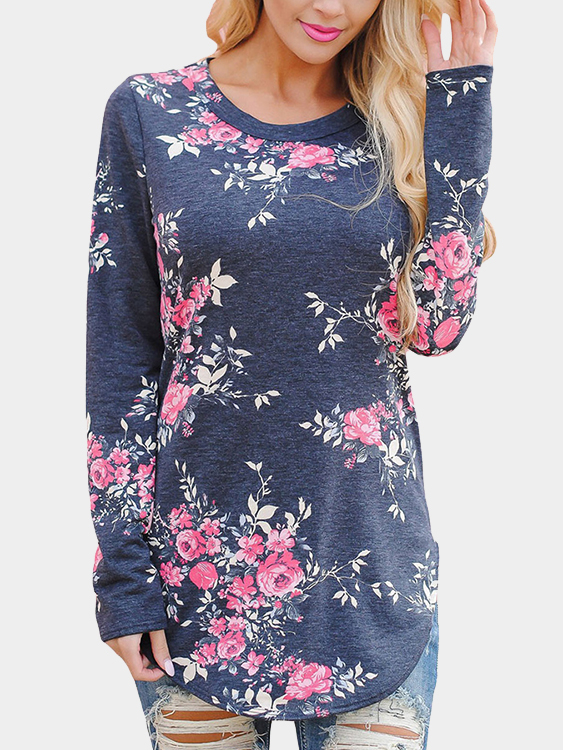 Grey Random Floral Print Round Neck Long Sleeves Curved Hem T-Shirt blue causal random floral print drawstring polo neck long sleeves hoodies