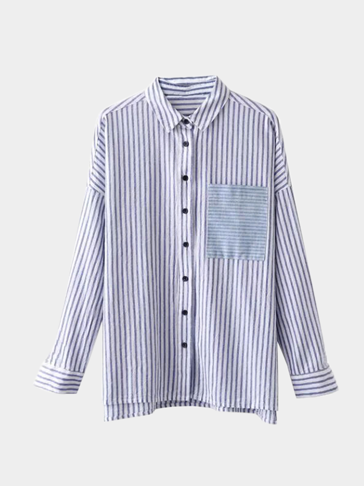 Casual Stripe Pattern Shirt In Blue And White blue stripe pattern shirt in sweet design