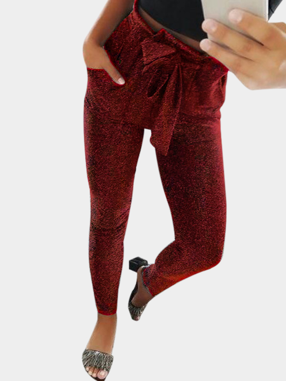 Burgundy Drawstring Waist Pants