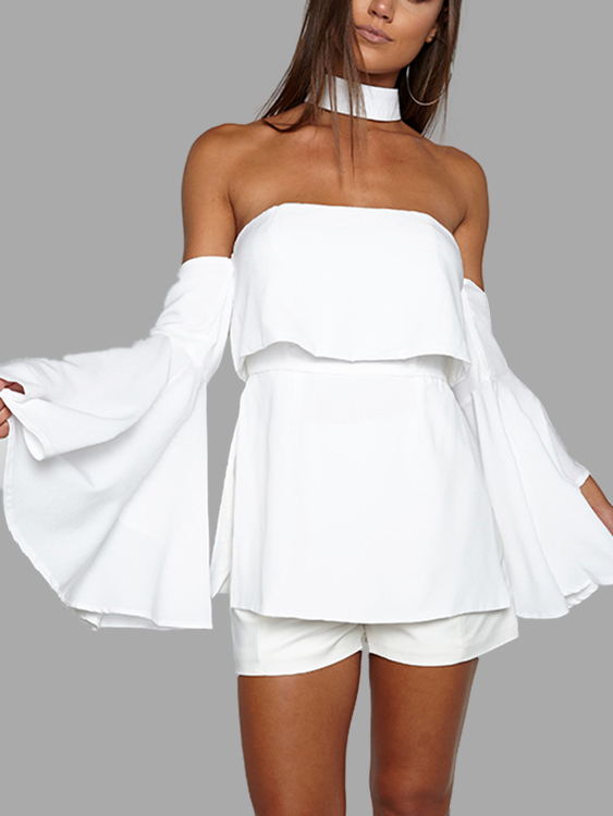 White Sexy Off Shoulder Flared Sleeves Layered Playsuit cadetblue sexy off shoulder flared sleeves blouse