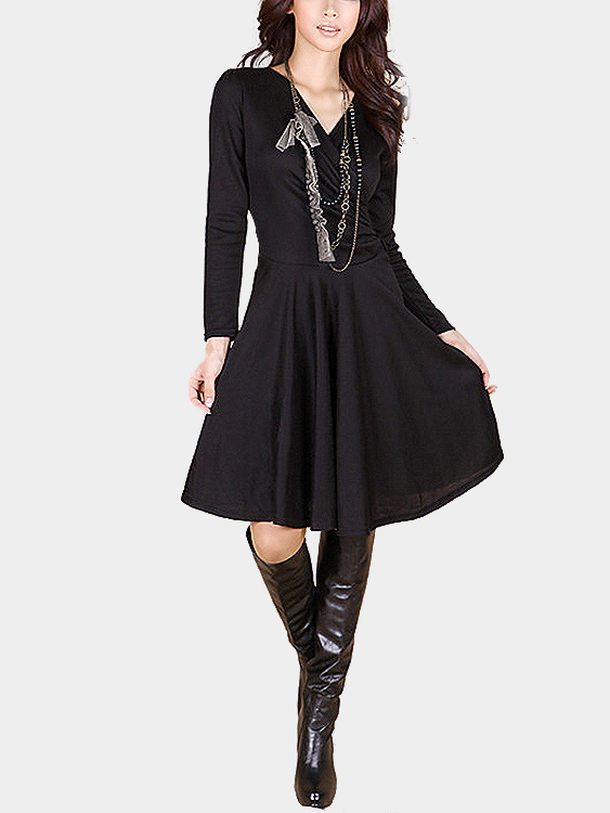 Black Wrapped V-neck Ruffled Hem Self-tie Midi Dress