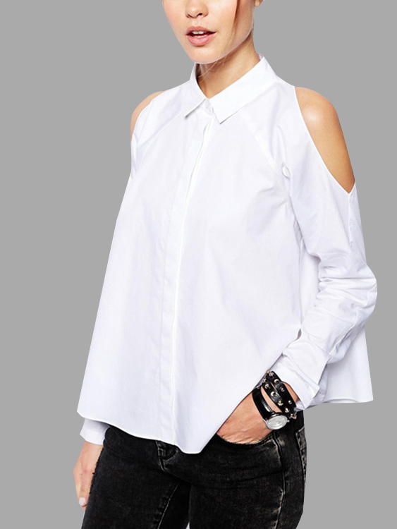 White Cold Shoulder Long Sleeves Shirt