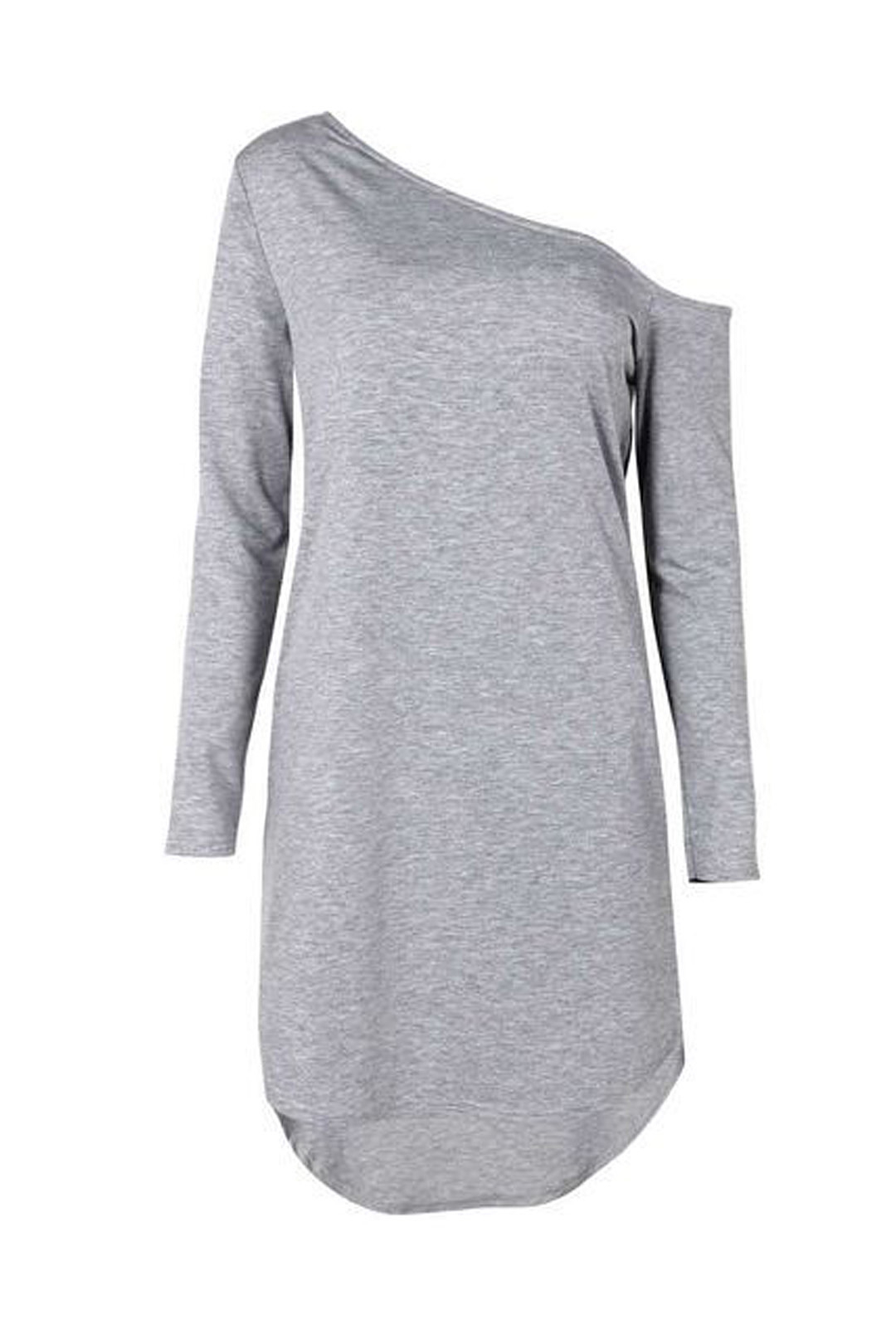 One Shoulder Long Sleeve Dress in Grey SKU298186