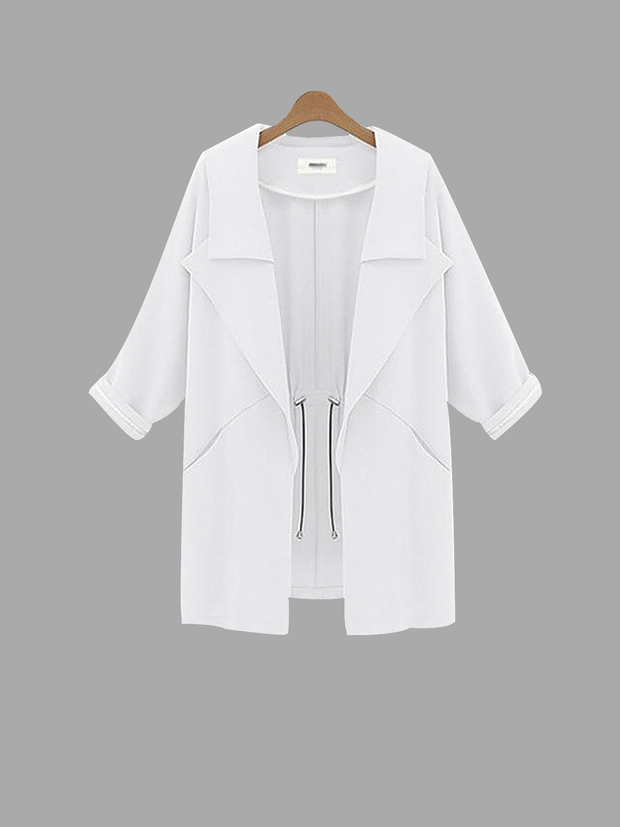 White Waterfall Trench Coat