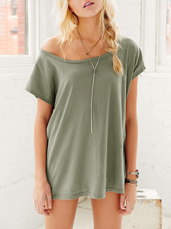 Army Green Cozy Round Neck T-shirts white cozy round neck t shirts