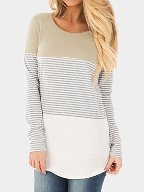 Khaki Stripe Round Neck Long Sleeves T-shirt сумка тележка gimi galaxy
