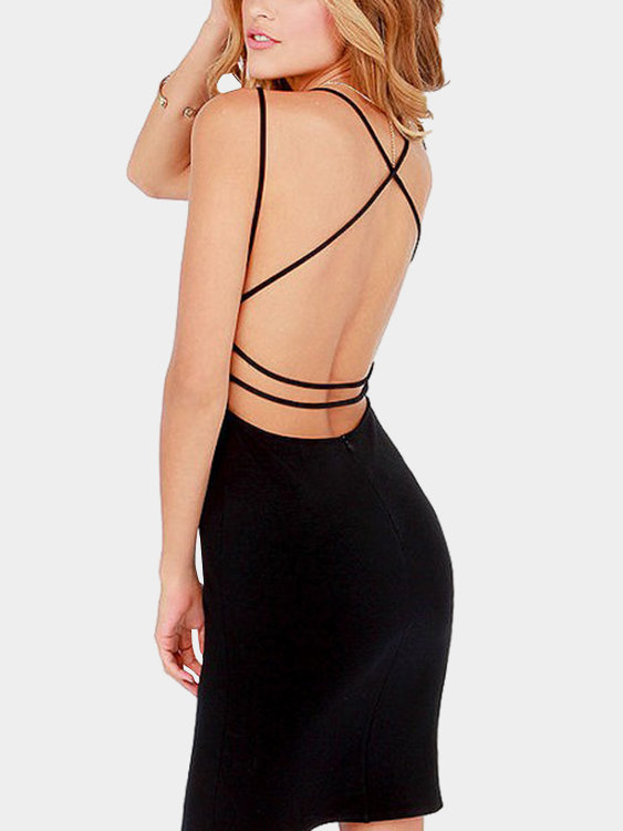 Black Deep V-neck Criss-cross Back Bodycon Mini Party Dress