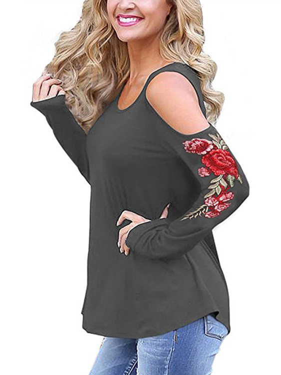 Grey Embroidered Cold Shoulder Long Sleeves T-shirts burgundy cold shoulder long sleeves t shirts