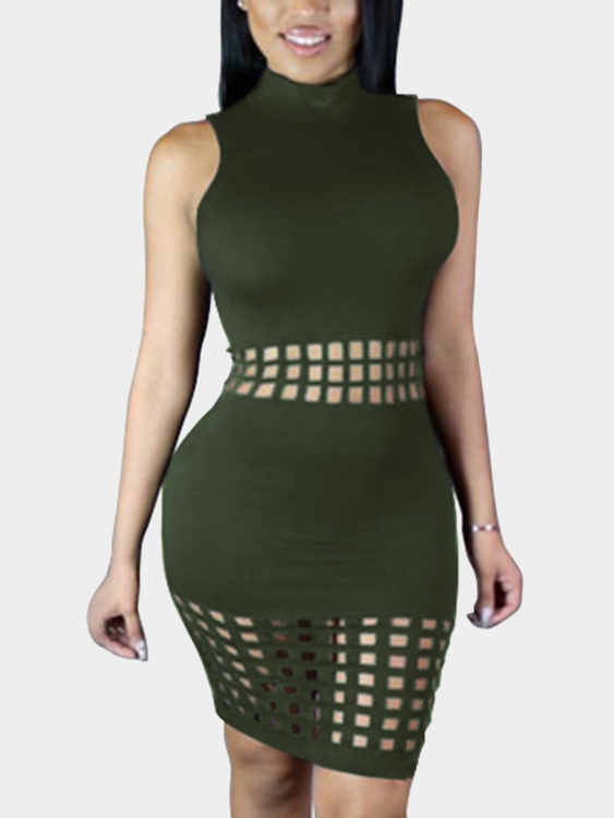 Army Green Round Neck Hollow Out Bodycon Midi Dress