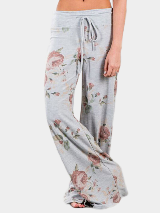 Light Gray Random Floral Print Wide Leg Pants