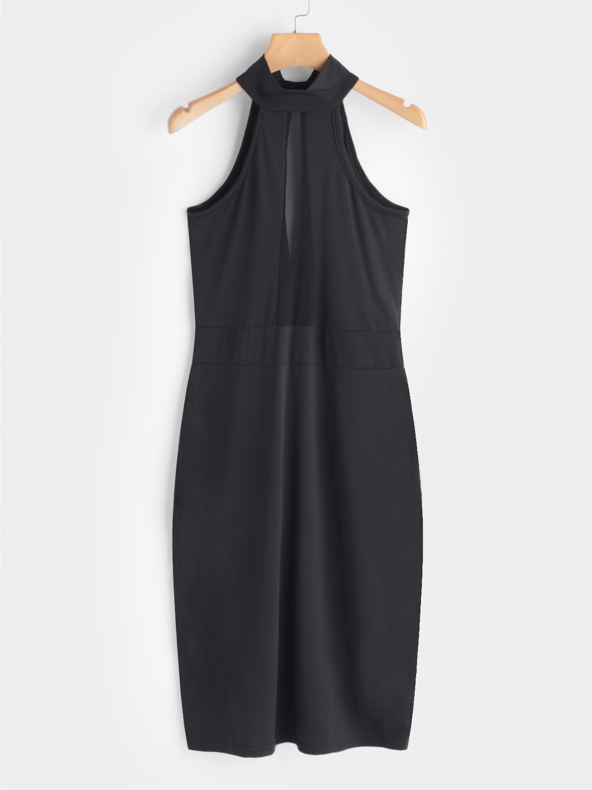 Black Cut Out Plain Halter Sleeveless Midi Dress cut out detail fit and flared sleeveless dress