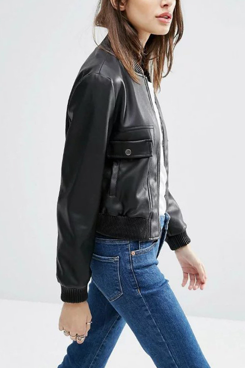 Zipper Pocket Front Button Short Leather Jacket