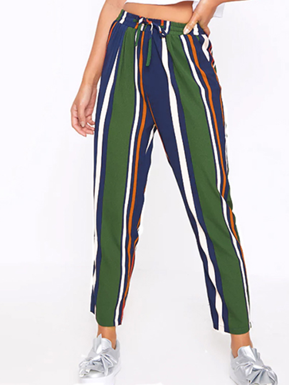Green Stripe Contrast Color Elastic Waist Pants