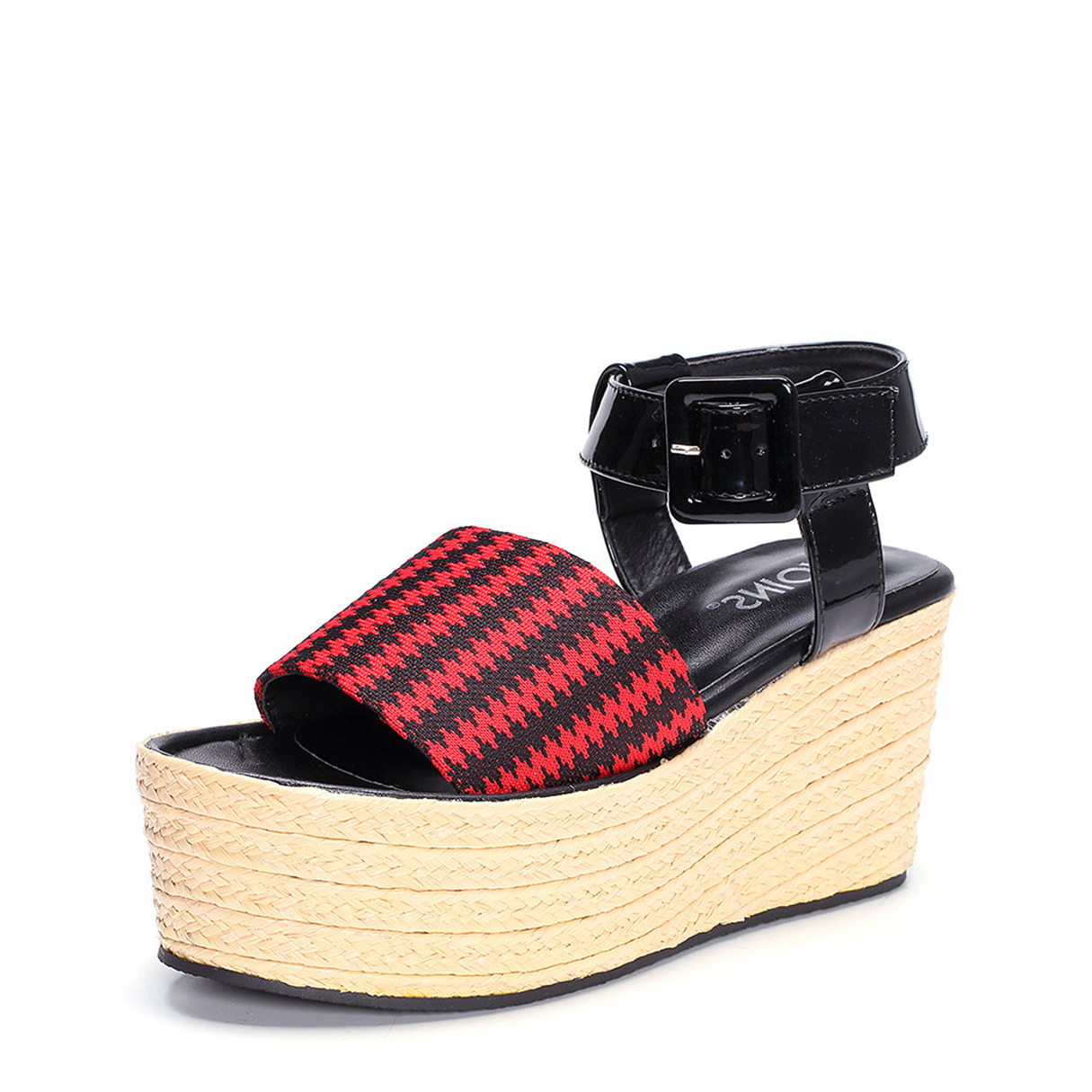 Red Woven Platfrom Sandals