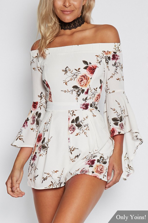 Sexy Random Floral Print Off Shoulder Flared Sleeves Playsuit red sexy off the shoulder random floral print playsuit